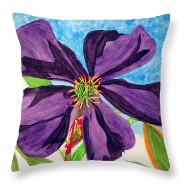 Our Very Bold Tibouchina Throw Pillow by Debi Singer