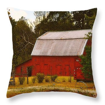 Throw Pillow featuring the photograph Ozark Red Barn by Lydia Holly