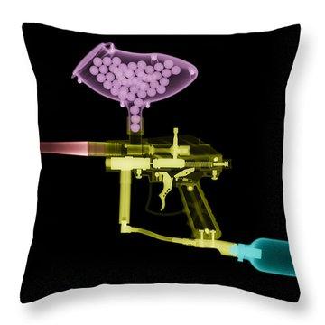 Paintball Gun Throw Pillow by Ted Kinsman