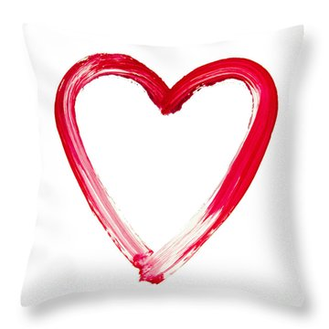 Painted Heart - Symbol Of Love Throw Pillow by Michal Boubin