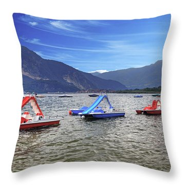 Pedal Boats On Lake Maggiore Throw Pillow
