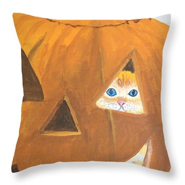 Throw Pillow featuring the painting Peekaboo by Norm Starks