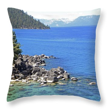 Pines Boulders And Crystal Waters Of Lake Tahoe Throw Pillow by Frank Wilson