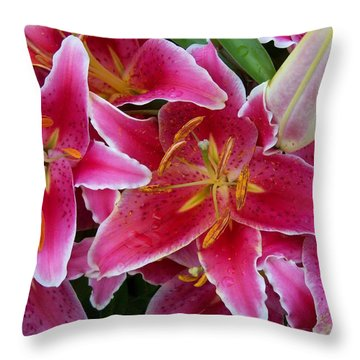 Pink Lilies With Water Droplets Throw Pillow