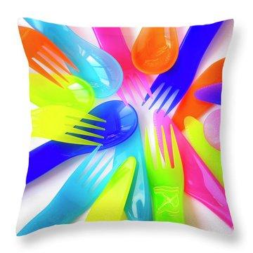 Plastic Cutlery Throw Pillow by Carlos Caetano