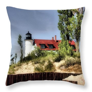 Throw Pillow featuring the photograph Point Betsie Lighthouse II by Joan Bertucci