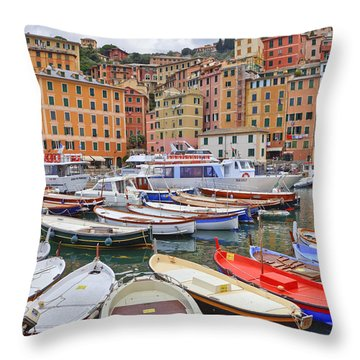 Port Of Camogli Throw Pillow by Joana Kruse