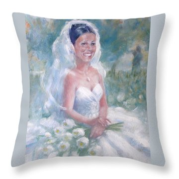 Throw Pillow featuring the painting Portrait Of A Bride by Gertrude Palmer