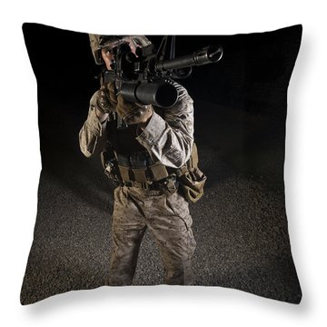Portrait Of A U.s. Marine In Northern Throw Pillow by Terry Moore