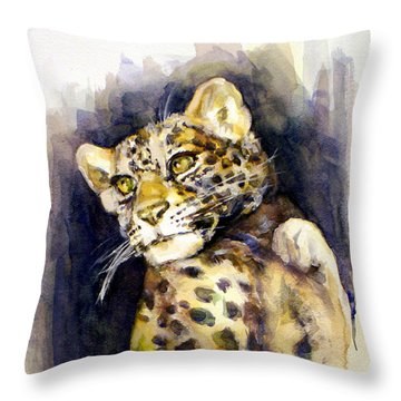 Portrait Of A Young Snow Leopard Throw Pillow