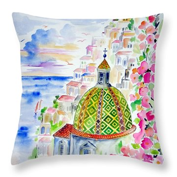 Positano In Acquarello Throw Pillow