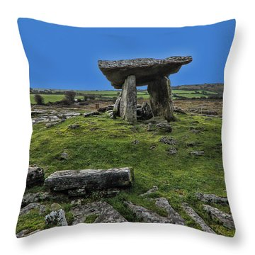 Throw Pillow featuring the photograph Poulnabrone Dolmen by David Gleeson
