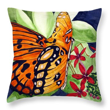 Precocious Butterfly Throw Pillow by Debi Singer