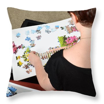 Puzzle Therapy Throw Pillow by Photo Researchers, Inc.