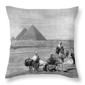 Pyramids At Giza, 1882 Throw Pillow by Granger