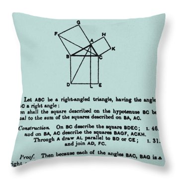 Pythagorean Theorem In English Throw Pillow by Science Source