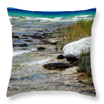 Throw Pillow featuring the photograph Quiet Waves Along The Shore by Janice Adomeit