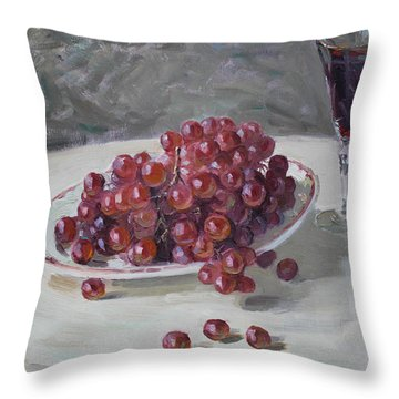 Red Grapes Throw Pillow by Ylli Haruni