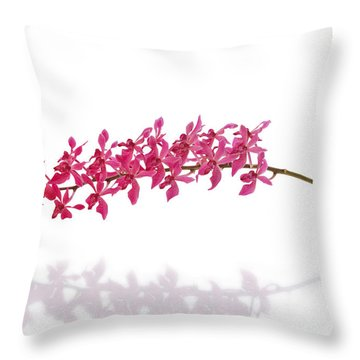 Red Orchid Throw Pillow by Atiketta Sangasaeng