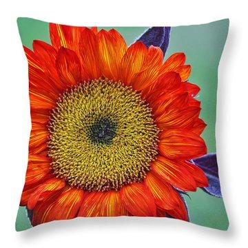 Red Sunflower  Throw Pillow by Saija  Lehtonen