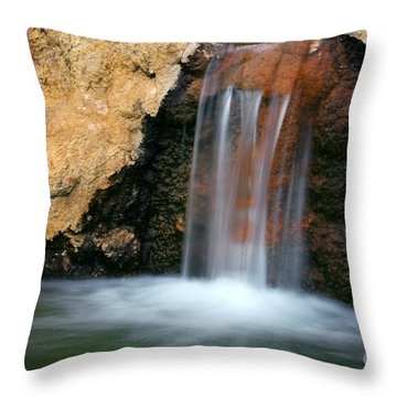 Red Waterfall Throw Pillow by Carlos Caetano