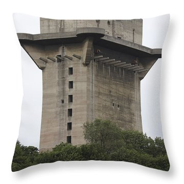 Remains Of Anti-aircraft L-tower Throw Pillow by Richard Roscoe
