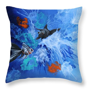 Richies Fish Throw Pillow by Wendy Shoults