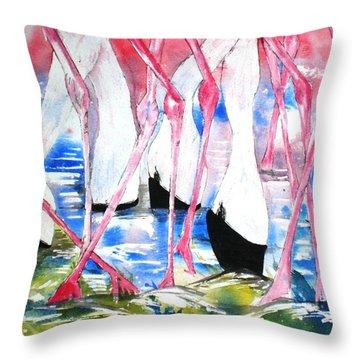 Rift Valley Flamingo Feeding Throw Pillow