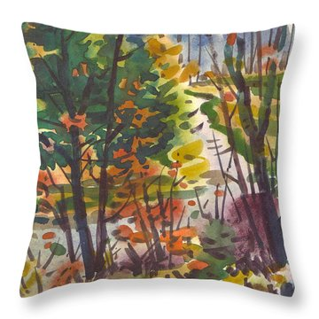 Throw Pillow featuring the painting River Bend by Donald Maier