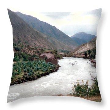 River Urubamba Through The Sacred Valley Of The Incas Throw Pillow by Ronald Osborne