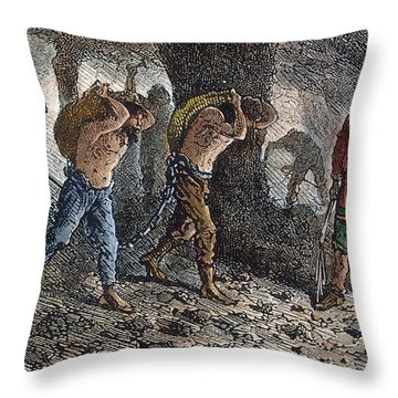 Roman Slavery: Coal Mine Throw Pillow by Granger