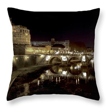Rome Ponte San Angelo Throw Pillow by Joana Kruse