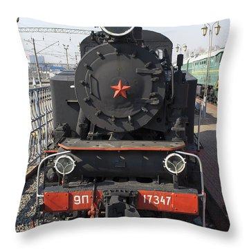 Russian Steam Locomotive 9p-17347 Throw Pillow by Igor Sinitsyn