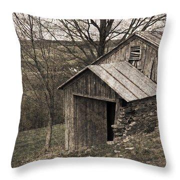 Rustic Hillside Barn Pasture Throw Pillow by John Stephens