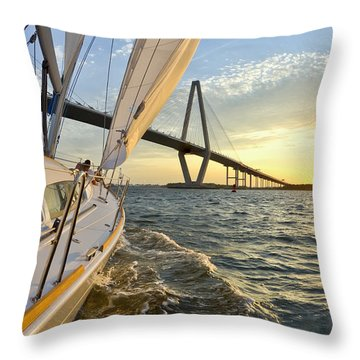Sailing On The Charleston Harbor During Sunset Throw Pillow by Dustin K Ryan