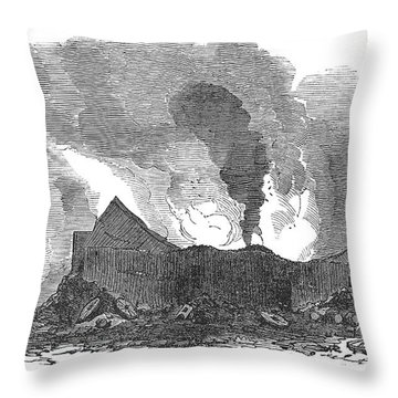 San Francisco: Fire, 1851 Throw Pillow by Granger