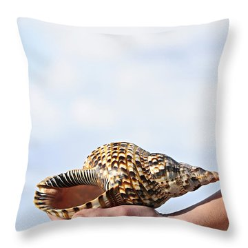 Seashell In Hand Throw Pillow by Elena Elisseeva
