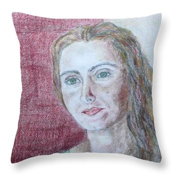Throw Pillow featuring the drawing Self Portrait by Anna Ruzsan