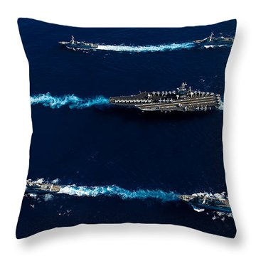 Ships From The John C. Stennis Carrier Throw Pillow by Stocktrek Images