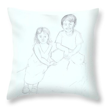 Throw Pillow featuring the drawing Singapore Babes by Nareeta Martin