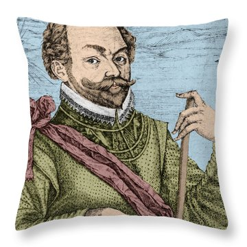 Sir Francis Drake, English Explorer Throw Pillow by Photo Researchers, Inc.