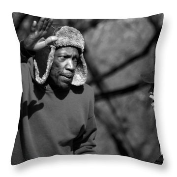 Skaters In Central Park Throw Pillow by RicardMN Photography