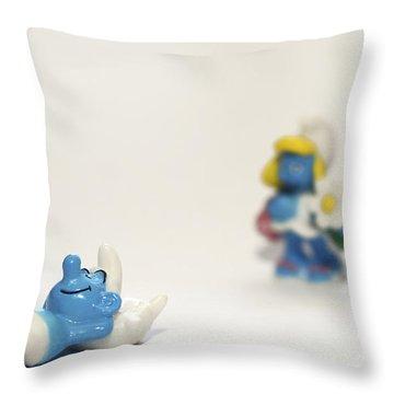 Smurf Figurines Throw Pillow by Amir Paz