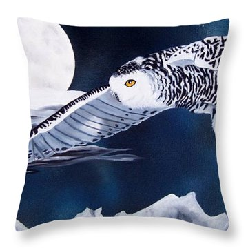 Snowy Flight Throw Pillow by Debbie LaFrance