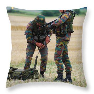 Soldiers Of The Belgian Army Throw Pillow by Luc De Jaeger