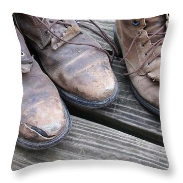 Throw Pillow featuring the photograph 'sole' Mates by Elizabeth Sullivan