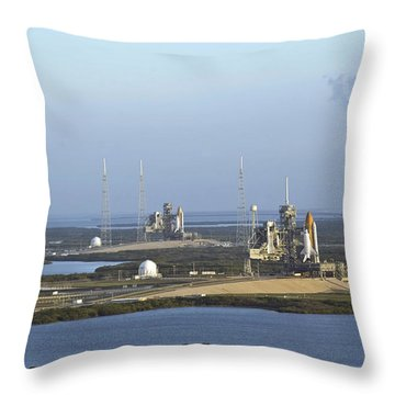 Space Shuttle Atlantis And Endeavour Throw Pillow by Stocktrek Images