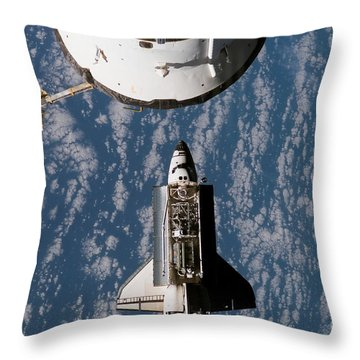 Space Shuttle Atlantis Approaching Throw Pillow by Stocktrek Images