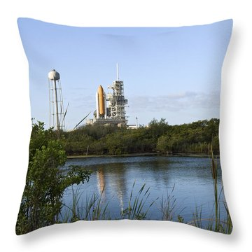 Space Shuttle Atlantis Sits Ready Throw Pillow by Stocktrek Images