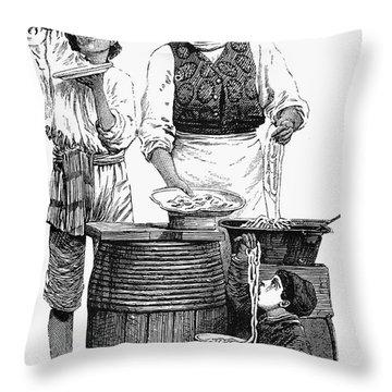 Spaghetti Vendor Throw Pillow by Granger